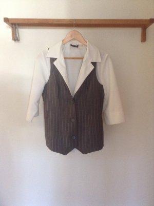Gilet de costume blanc-gris polyester