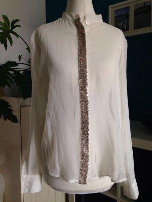 Bluse mit Pailetten abgesetzt in naturweiß