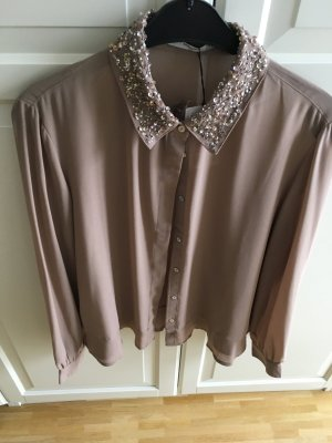 Mango Long Sleeve Blouse dusky pink-rose-gold-coloured synthetic