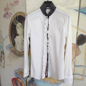 Aglini Long Sleeve Blouse white-anthracite cotton