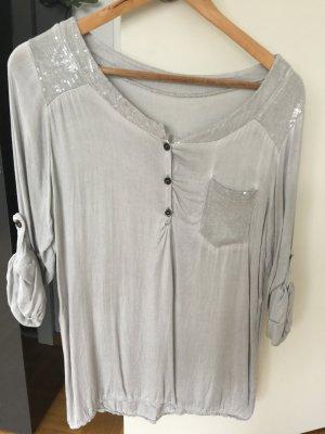 Bluse mit Paillettenverzierung S hellgrau