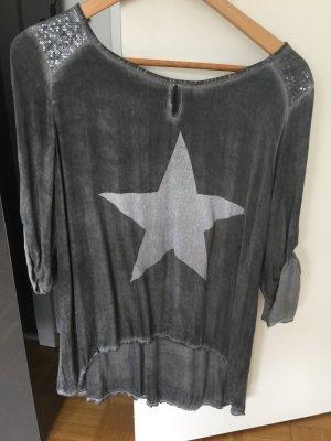 Bluse mit Paillettenverzierung und Stern dunkelgrau S