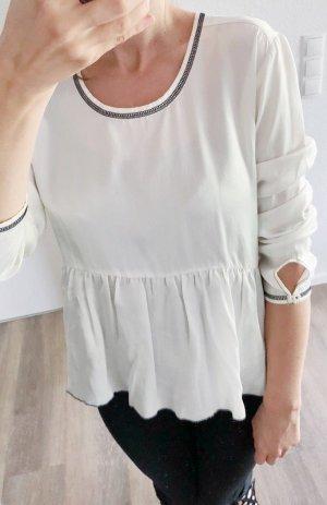 Bluse mit Peplum Tunika von Narli weiß Seide Gr. S