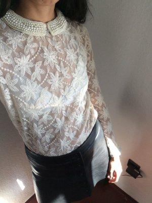 Zara Blusa trasparente crema-bianco
