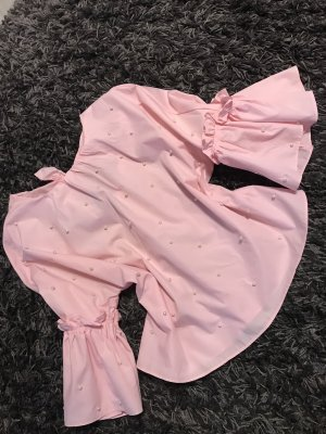 Bluse mit Perlen und Rückenschlitz in Rose - Größe S/M