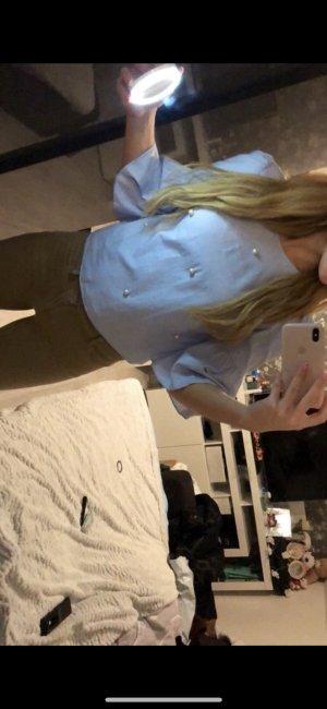 Zara Camicetta a maniche lunghe bianco-celeste