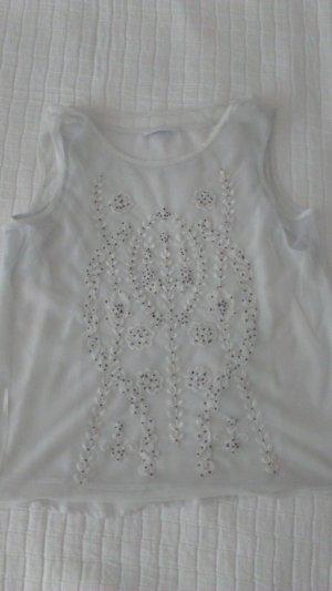 Bluse mit Perlen von Promod, Gr. M