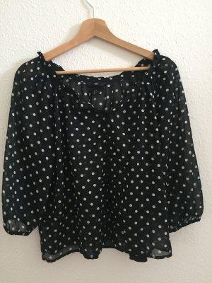H&M Blusa transparente blanco-negro