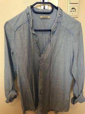 Ruche blouse wit-blauw