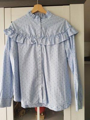 H&M Blusa con volantes azul claro