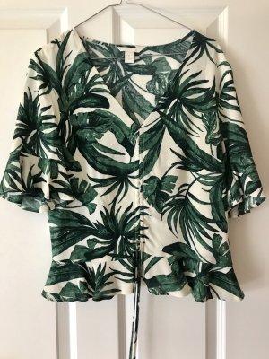 H&M Ruche blouse wolwit-bos Groen Viscose