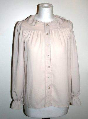 Bluse mit Rüschen, Beige, Gr. 36, NEU