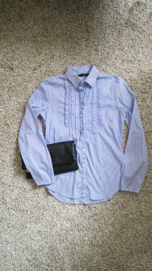 Bluse mit Rüschen  blau weiß gestreift