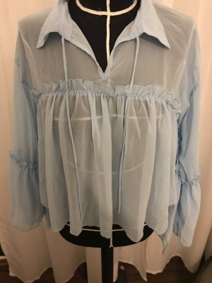 Ruffled Blouse baby blue polyester