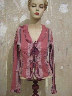 Bluse mit Rüschen und Glitzerstreifen, romantic Style