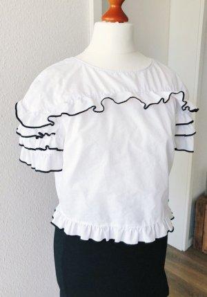 Bluse mit Rüschen von Zara weiß Cropped