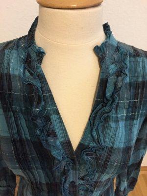 Hallhuber trend Camicetta a blusa petrolio-verde bosco Cotone