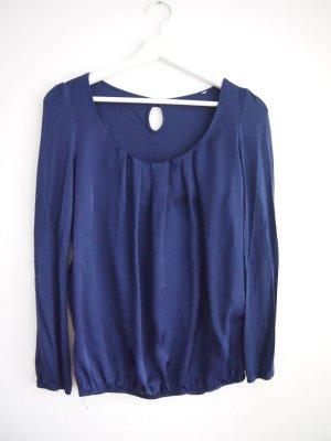 Blouse brillante bleu foncé-bleu polyester