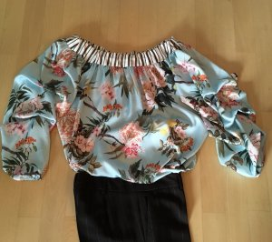 Bluse mit Schleife Raffung Blütendruck Streifen