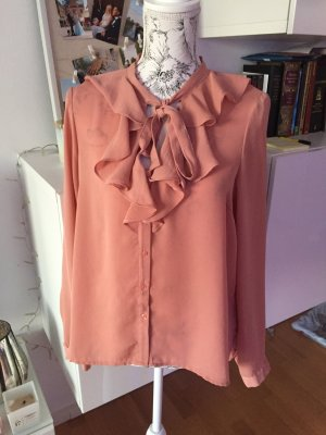 Blouse avec noeuds abricot-rose chair polyester