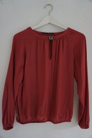Zara Blouse à manches longues rouge brique fibre synthétique