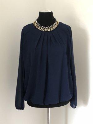 Empiècement de blouses bleu foncé-doré