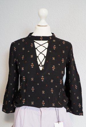 Bluse mit Schnürung und Muster