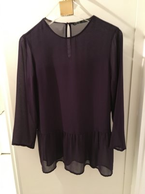 Zara Long Sleeve Blouse brown violet polyester
