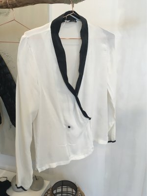 Zara Woman Kimono Blouse white-black