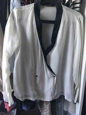 Zara Woman Blusa tipo kimono blanco-negro