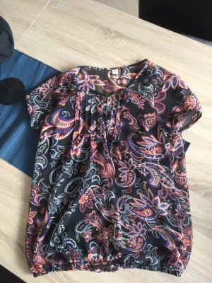 Bluse mit schwarzen Top Blumenoptik