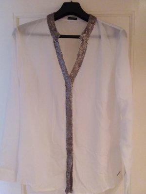 Bluse mit silbernen Pailetten, Grösse 42