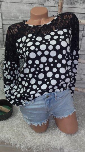 0039 Italy Kanten blouse zwart-wolwit