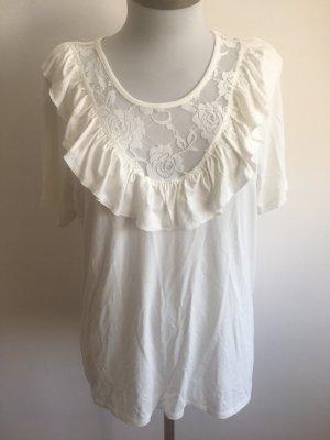 Bluse mit Spitze Top weiß