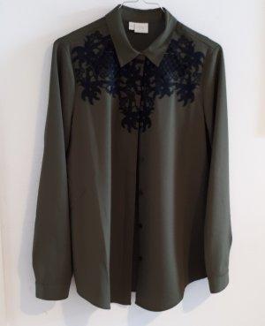 Alba Moda Blouse à manches longues noir-vert olive polyester