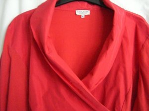 Gina Laura Blouse à col montant rouge tissu mixte