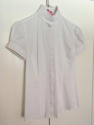 Bluse mit Stehkragen, weiß, kurzarm, Gr. 36