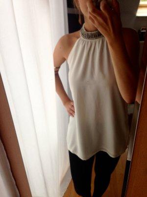 Bluse mit Steinchenkragen, Größe 36