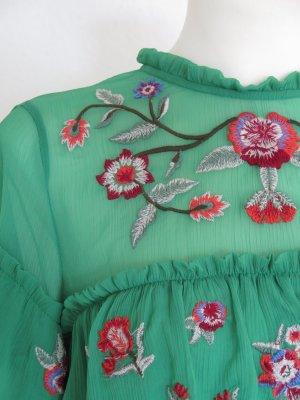 Bluse mit Stickerien Blumenstickerei von Zara Gr M