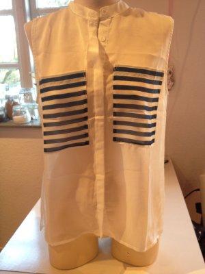 Short Sleeved Blouse white-blue polyester