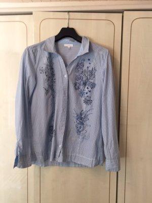 Bluse mit Streifen und modischem Blumenprint - passt herrlich zu Jeans
