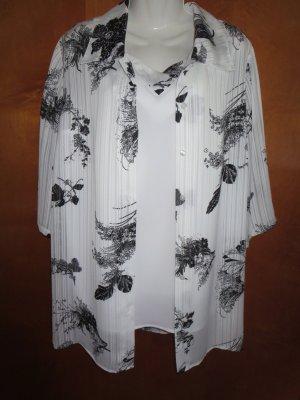 Bluse mit Top in weiß/schwarzem Blumenmuster