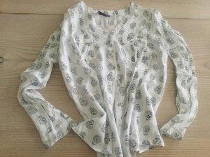 Bluse mit Totenkopf schwarz weiß sehr stylisch zu Lederjacke 36 38 40