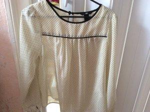 H&M Cuello de blusa blanco-negro Poliéster