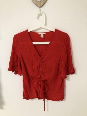 Bluse mit V-Ausschnitt Schnürung Rot Rüschen