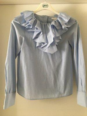 H&M Blouse à volants blanc-bleu azur