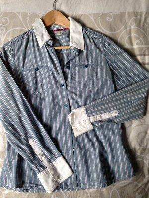 Bluse mit weißem Kragen / Manschetten blau rosa Gr. 34