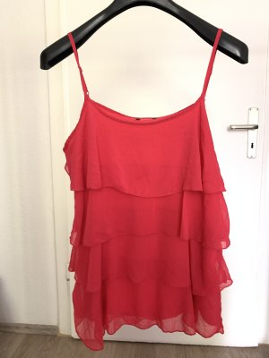 H&M Top a balze rosa-rosso lampone