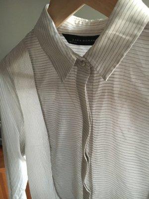 Bluse Nadelstreifen Zara Woman S glänzend weiß