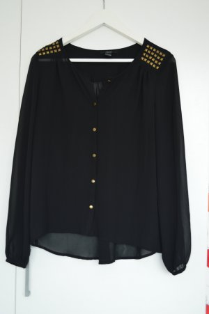 Bluse (Nieten, schwarz, transparent, gold, Langarmbluse)